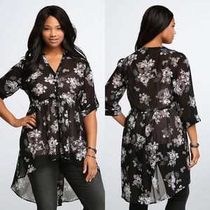 Torrid floral high-low tunic top black floral 1X